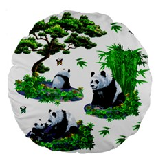 Cute Panda Cartoon Large 18  Premium Flano Round Cushions