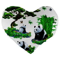Cute Panda Cartoon Large 19  Premium Flano Heart Shape Cushions