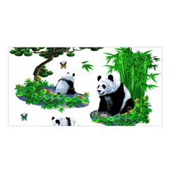 Cute Panda Cartoon Satin Shawl
