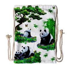 Cute Panda Cartoon Drawstring Bag (large)