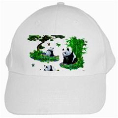 Cute Panda Cartoon White Cap