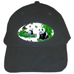 Cute Panda Cartoon Black Cap