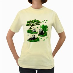 Cute Panda Cartoon Women s Yellow T Shirt