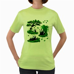 Cute Panda Cartoon Women s Green T Shirt
