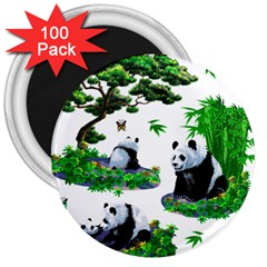 Cute Panda Cartoon 3  Magnets (100 Pack)