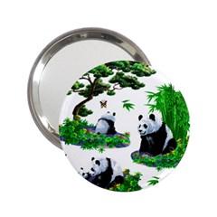 Cute Panda Cartoon 2.25  Handbag Mirrors