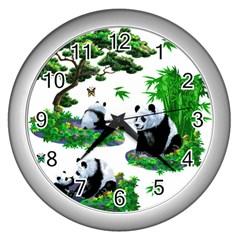 Cute Panda Cartoon Wall Clocks (Silver)