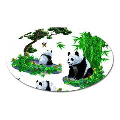 Cute Panda Cartoon Oval Magnet