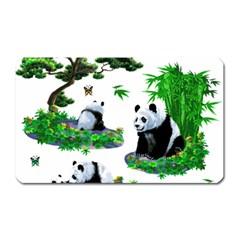 Cute Panda Cartoon Magnet (Rectangular)