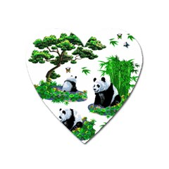 Cute Panda Cartoon Heart Magnet