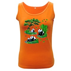 Cute Panda Cartoon Women s Dark Tank Top