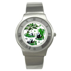 Cute Panda Cartoon Stainless Steel Watch