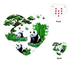 Cute Panda Cartoon Playing Cards (Heart)
