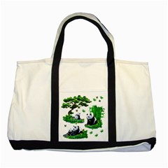 Cute Panda Cartoon Two Tone Tote Bag