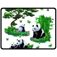 Cute Panda Cartoon Fleece Blanket (Large)