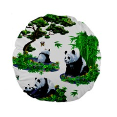 Cute Panda Cartoon Standard 15  Premium Round Cushions