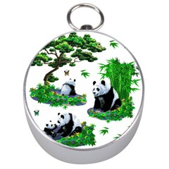 Cute Panda Cartoon Silver Compasses