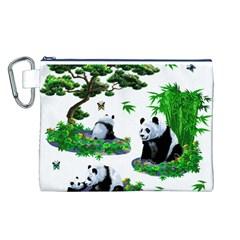 Cute Panda Cartoon Canvas Cosmetic Bag (L)