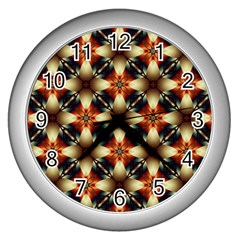 Kaleidoscope Image Background Wall Clocks (Silver)