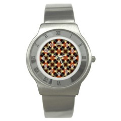 Kaleidoscope Image Background Stainless Steel Watch