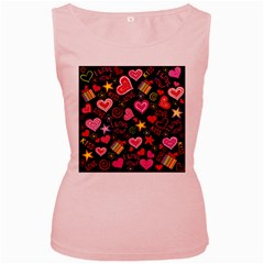 Love Hearts Sweet Vector Women s Pink Tank Top