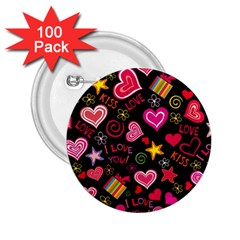 Love Hearts Sweet Vector 2.25  Buttons (100 pack)