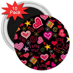 Love Hearts Sweet Vector 3  Magnets (10 Pack)