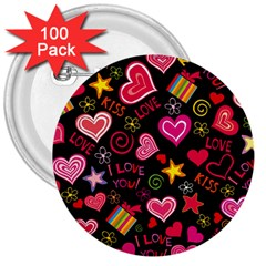Love Hearts Sweet Vector 3  Buttons (100 Pack)