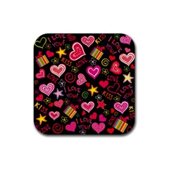 Love Hearts Sweet Vector Rubber Coaster (Square)