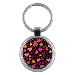 Love Hearts Sweet Vector Key Chains (Round)