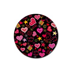 Love Hearts Sweet Vector Rubber Coaster (round)