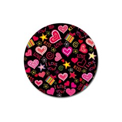Love Hearts Sweet Vector Magnet 3  (Round)
