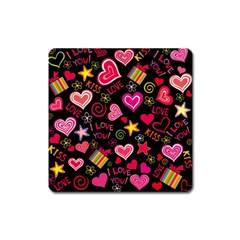 Love Hearts Sweet Vector Square Magnet