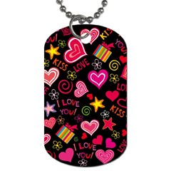 Love Hearts Sweet Vector Dog Tag (one Side)