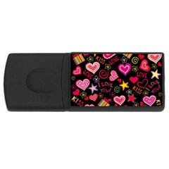Love Hearts Sweet Vector USB Flash Drive Rectangular (2 GB)