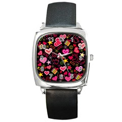 Love Hearts Sweet Vector Square Metal Watch