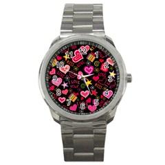 Love Hearts Sweet Vector Sport Metal Watch