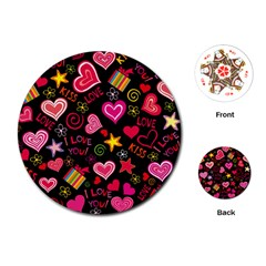 Love Hearts Sweet Vector Playing Cards (Round)