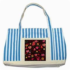 Love Hearts Sweet Vector Striped Blue Tote Bag