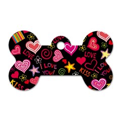 Love Hearts Sweet Vector Dog Tag Bone (Two Sides)