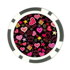Love Hearts Sweet Vector Poker Chip Card Guard