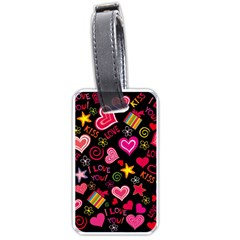 Love Hearts Sweet Vector Luggage Tags (two Sides)