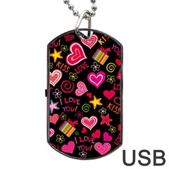 Love Hearts Sweet Vector Dog Tag USB Flash (Two Sides)