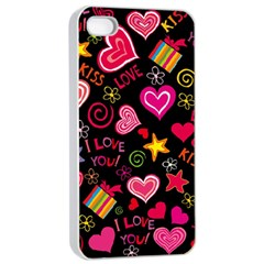 Love Hearts Sweet Vector Apple iPhone 4/4s Seamless Case (White)