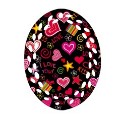 Love Hearts Sweet Vector Ornament (Oval Filigree)
