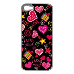 Love Hearts Sweet Vector Apple iPhone 5 Case (Silver)
