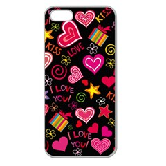 Love Hearts Sweet Vector Apple Seamless iPhone 5 Case (Clear)