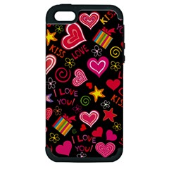 Love Hearts Sweet Vector Apple iPhone 5 Hardshell Case (PC+Silicone)