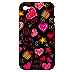 Love Hearts Sweet Vector Apple iPhone 4/4S Hardshell Case (PC+Silicone)