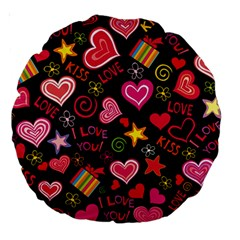 Love Hearts Sweet Vector Large 18  Premium Round Cushions